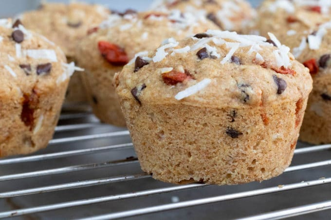 Coconut Goji Chocolate Chip Muffins