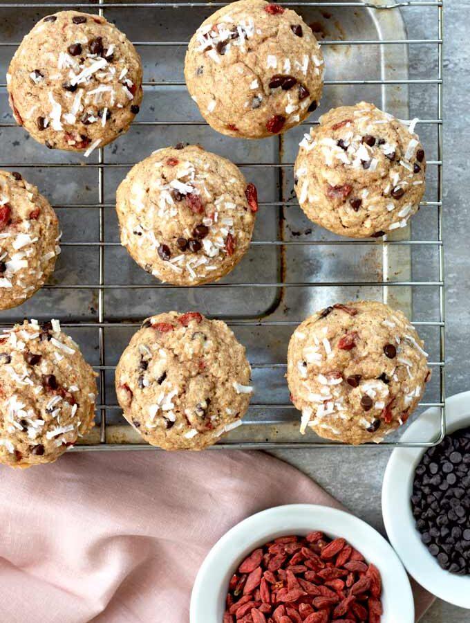 Goji Coconut Chocolate Chip Muffins