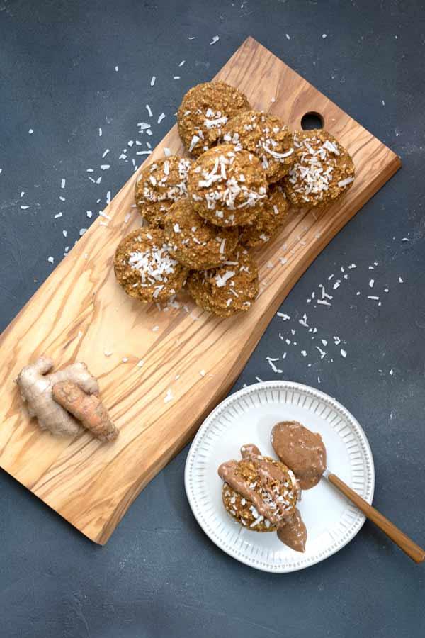Golden Milk Breakfast Muffins on a wood board