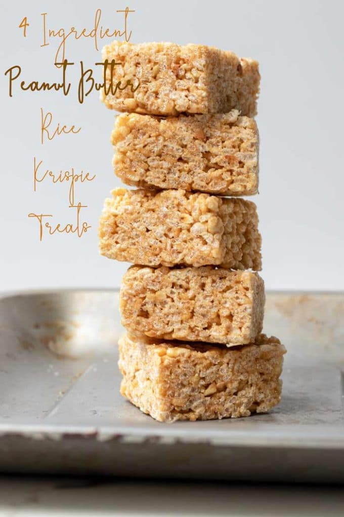 a stack of Vegan Peanut Butter Rice Krispie Treats