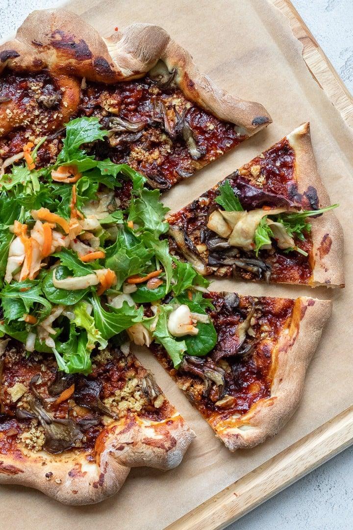 overhead shot of Korean Barbecue Pizza