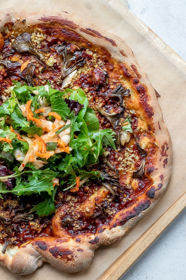 Vegan Korean Barbecue Pizza on a cutting board