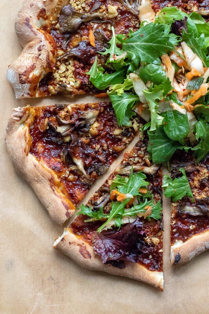 Korean Barbecue Pizza With Tofu and Maitake