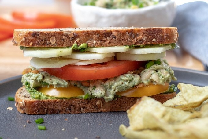 Vegan Pesto Cannellini Mash Sandwich