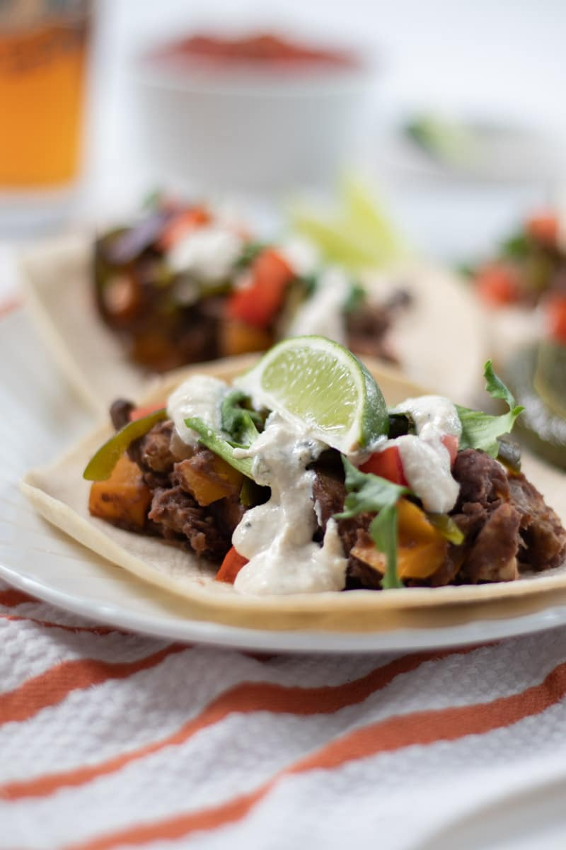Refried Black Bean and Tempeh Tacos with Creamy Lime Dressing-2