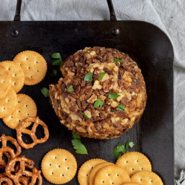 cashew cheese ball on platter