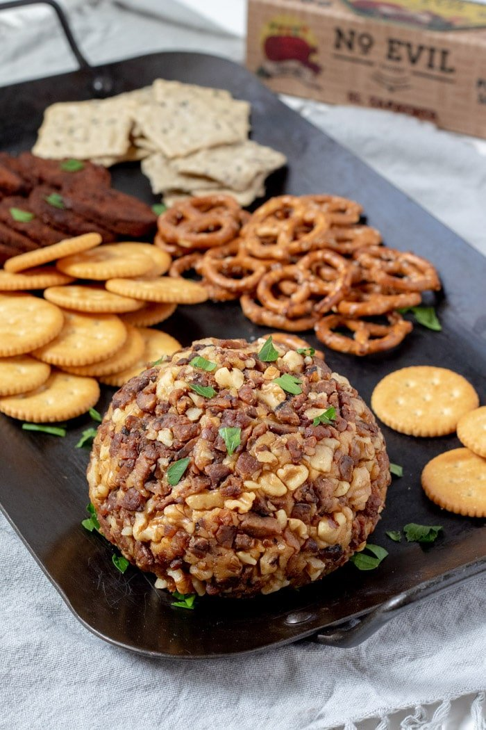 beer cheese ball on a platter