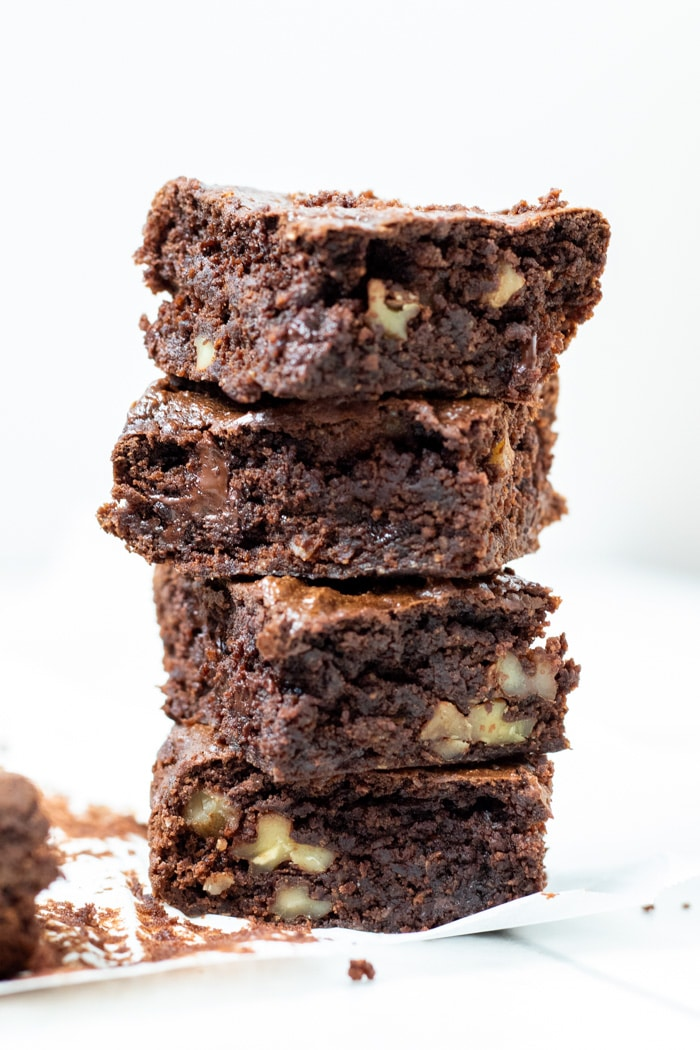 Four Vegan Peanut Butter Brownies stacked