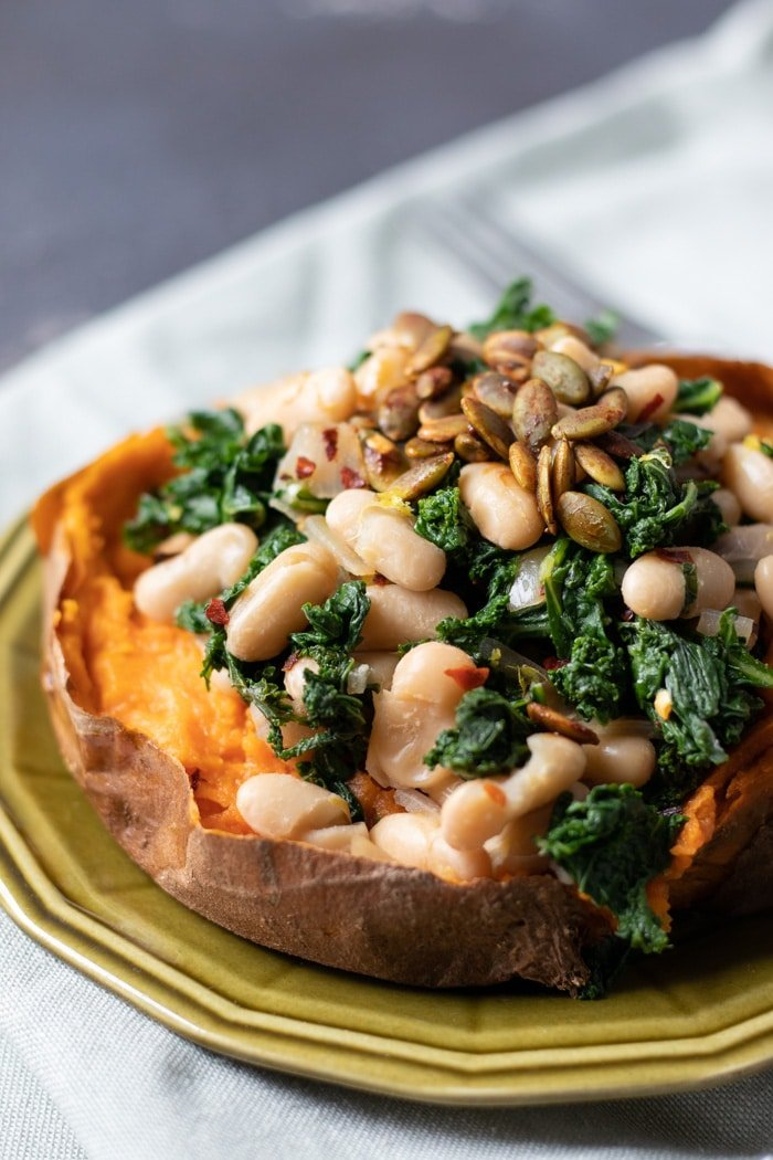 Sweet Potatoes with Lemony Kale and White Beans-3