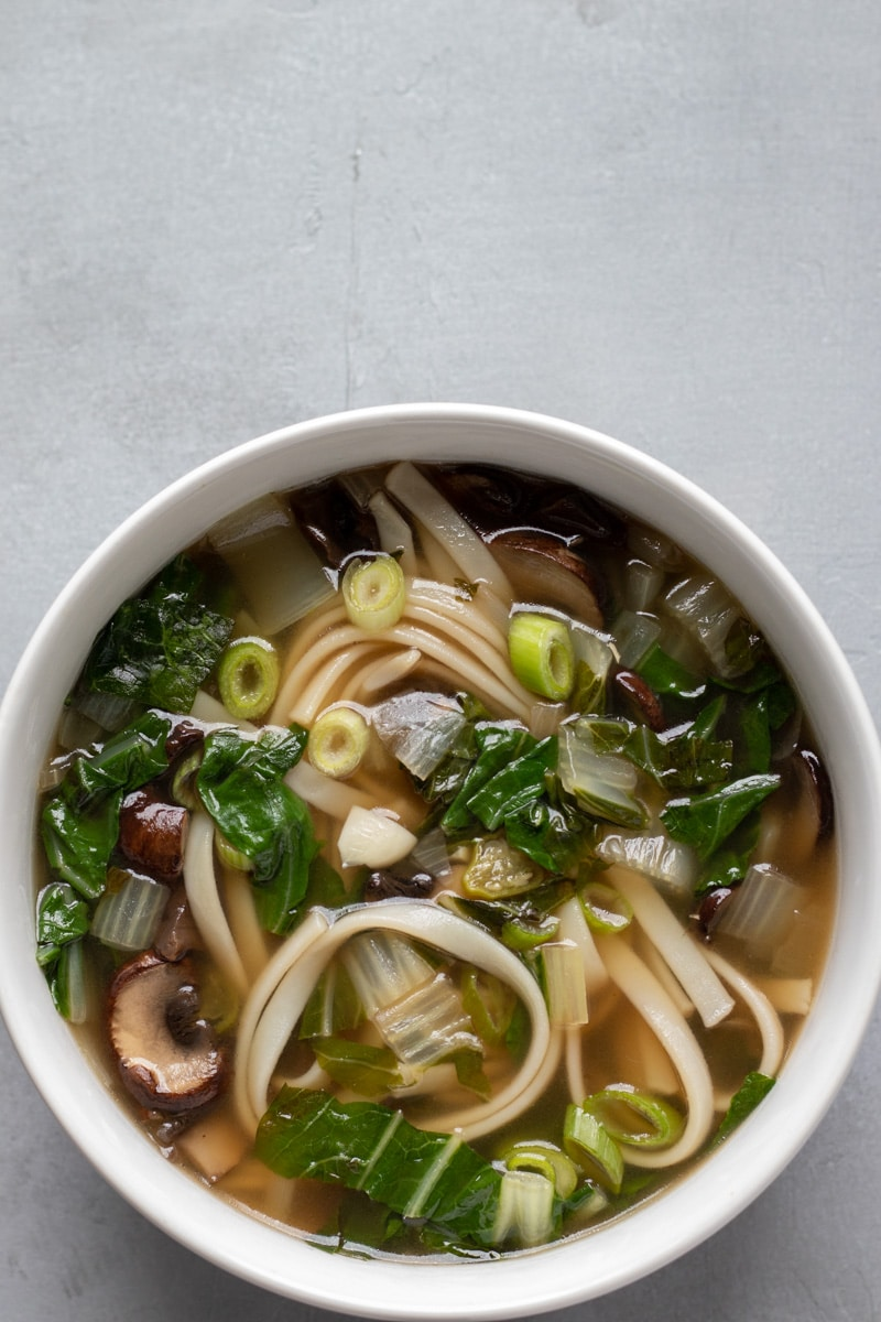 Seared Bok Choy Broth With Noodles