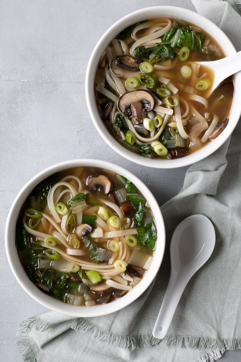 Seared Bok Choy Broth With Noodles - My Quiet Kitchen