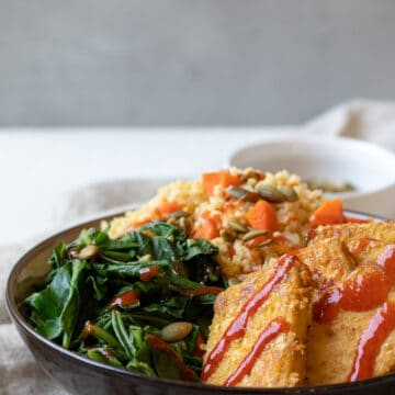 Sweet Mustard Tofu with Millet and Greens