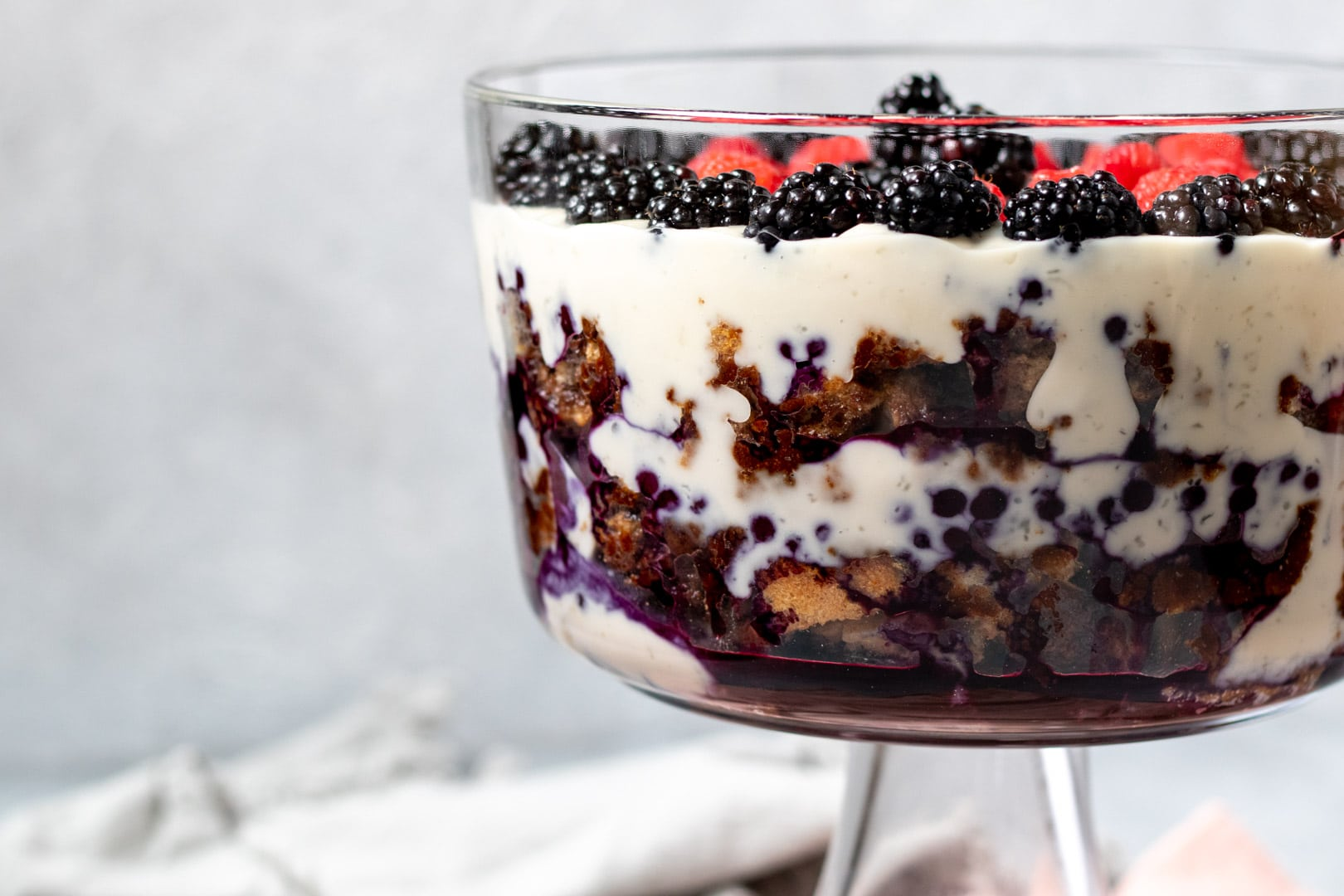 side view of vegan trifle in a glass dish