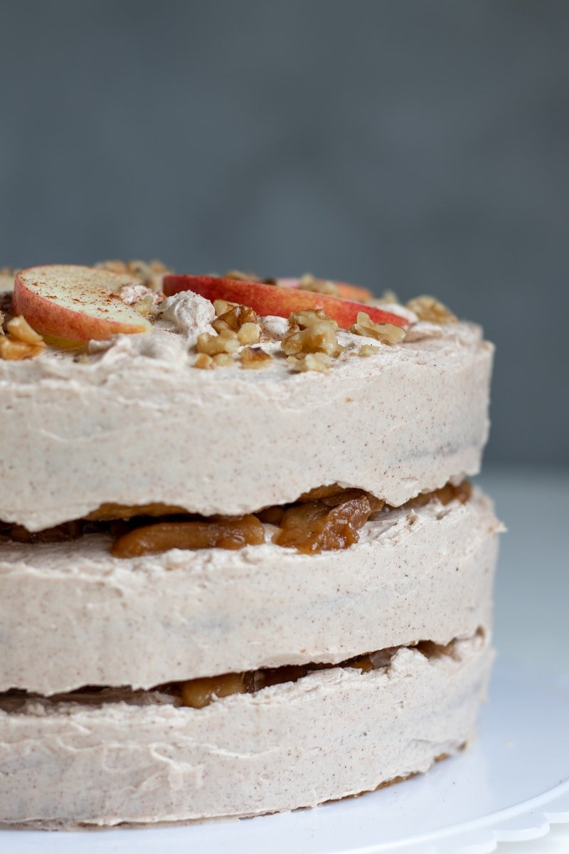 close up side view of Vegan Apple Layer Cake