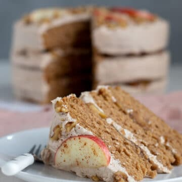 a slice of vegan apple cake on a plate