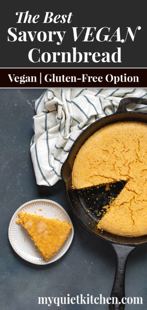 southern-style vegan cornbread pin for Pinterest