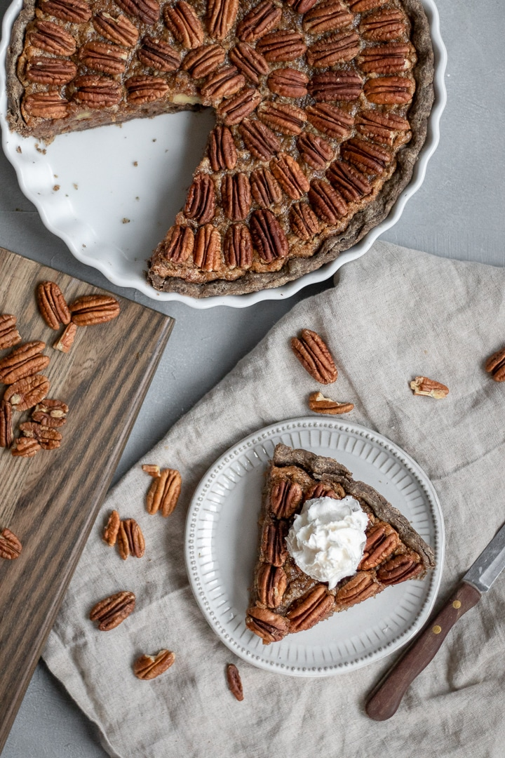 Vegan Bourbon Pecan Pie with non-dairy whipped topping