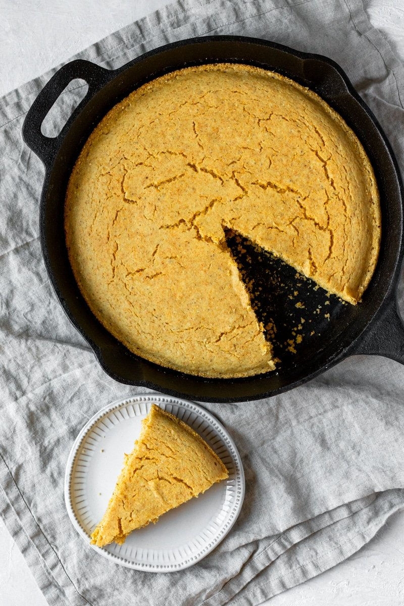 overhead view of Vegan Southern-Style Cornbread in a skillet