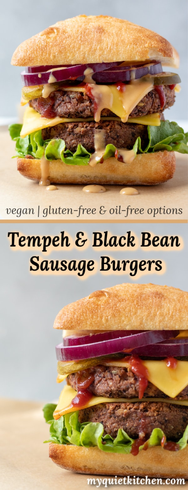 Tempeh and Black Bean Sausage Burgers