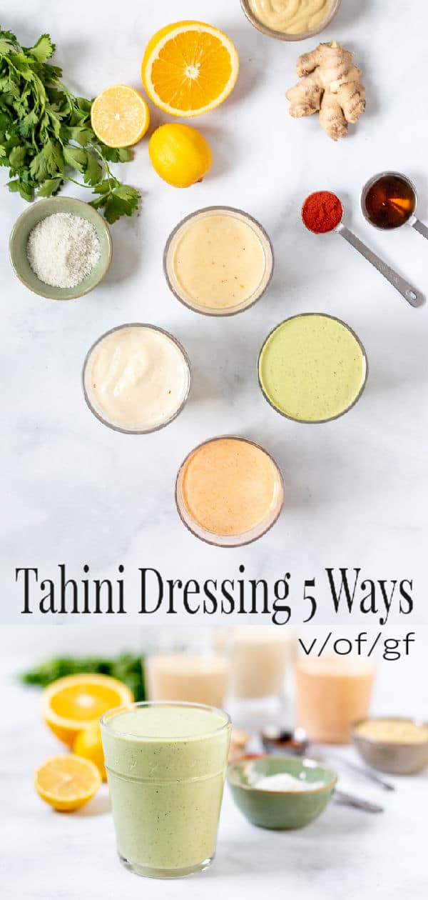 Tahini Salad Dressing 5 Ways - pin for Pinterest