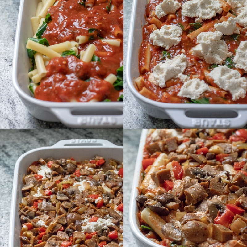 Vegan Baked Ziti With Vegetables - Collage