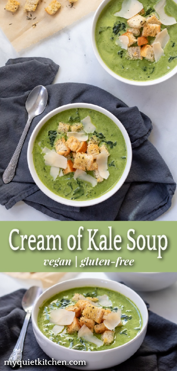 Cream of Kale Soup pin for Pinterest
