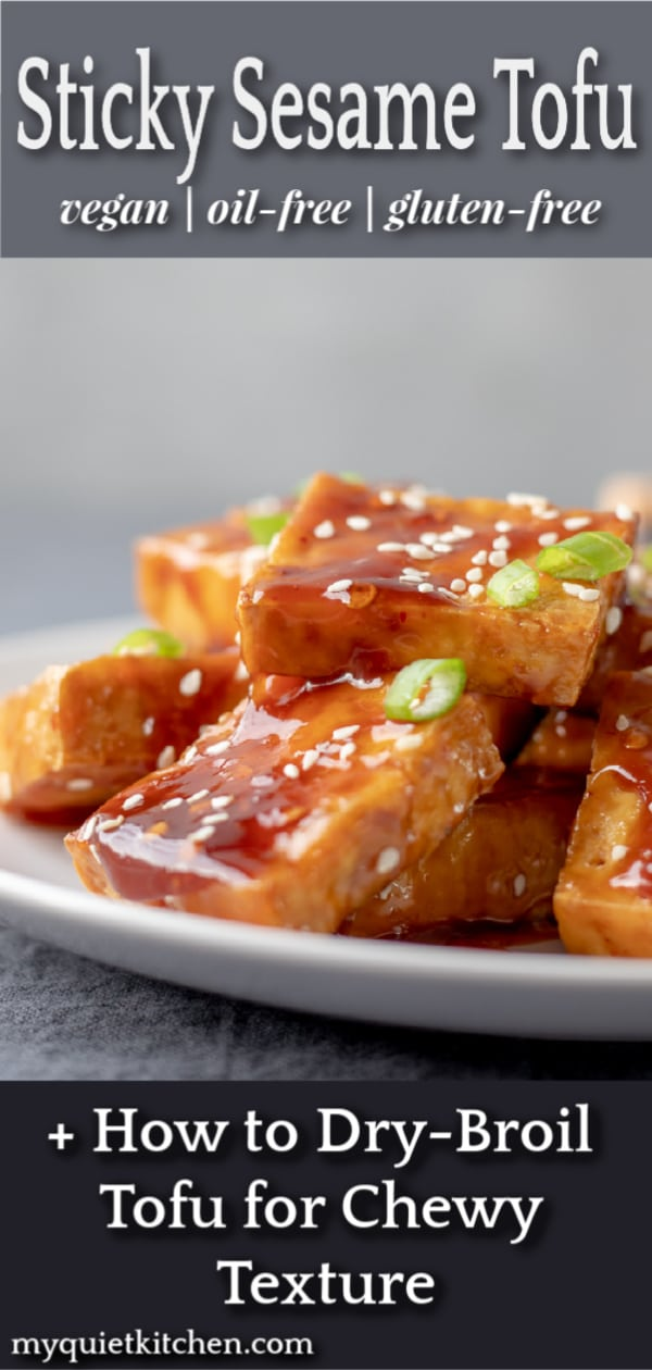 Pin for Pinterest with image of Sticky Sesame Tofu
