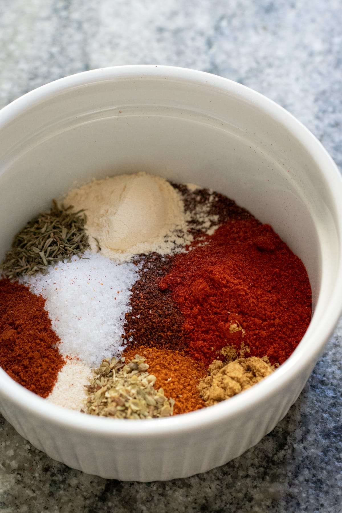 ingredients for homemade chorizo spice blend in a ramekin