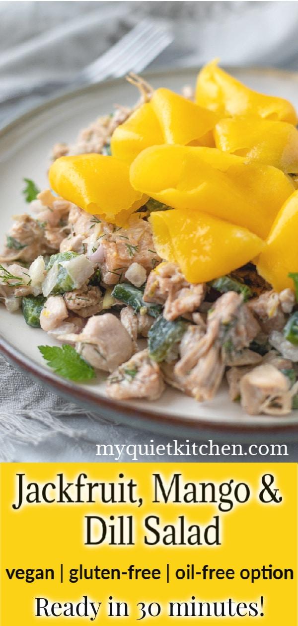 Vegan jackfruit salad pin for Pinterest