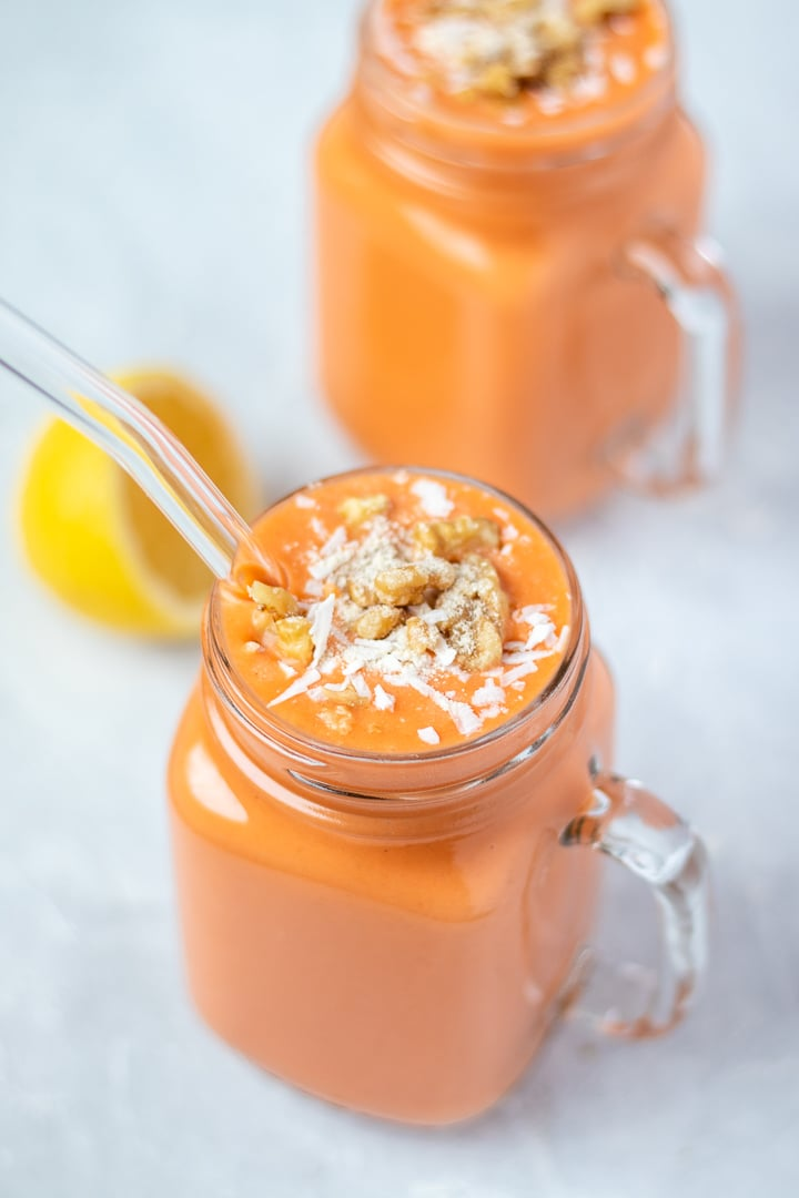 Tropical Carrot Cake Smoothie in a glass mug