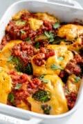 Vegan Chorizo Cabbage Rolls in a white baking dish