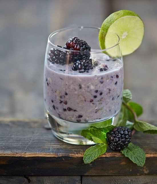 Blackberry mojito overnight oats in a glass