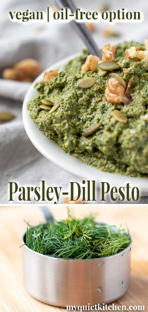 Parsley-Dill Pesto pin for Pinterest