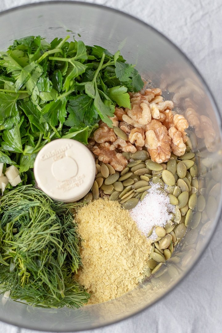ingredients for Parsley Dill Pesto in a food processor