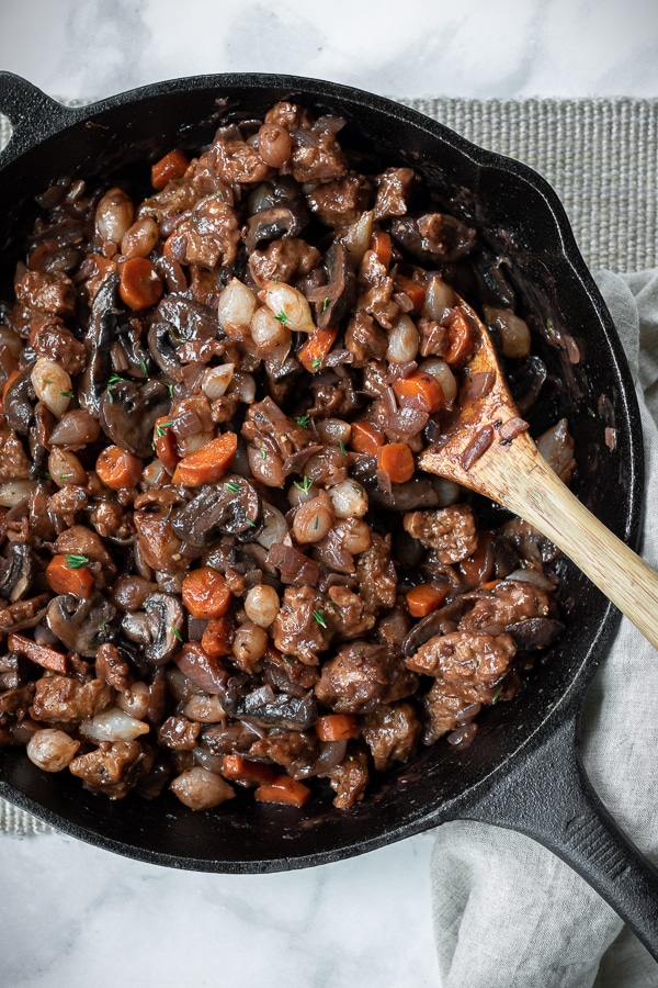 Seitan Bourguignon in a cast iron skillet
