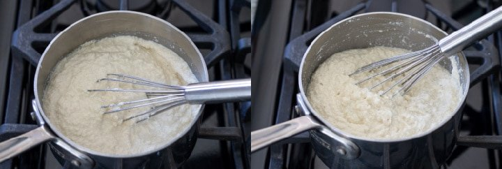 Collage showing the cooking of almond queso blanco on the stove