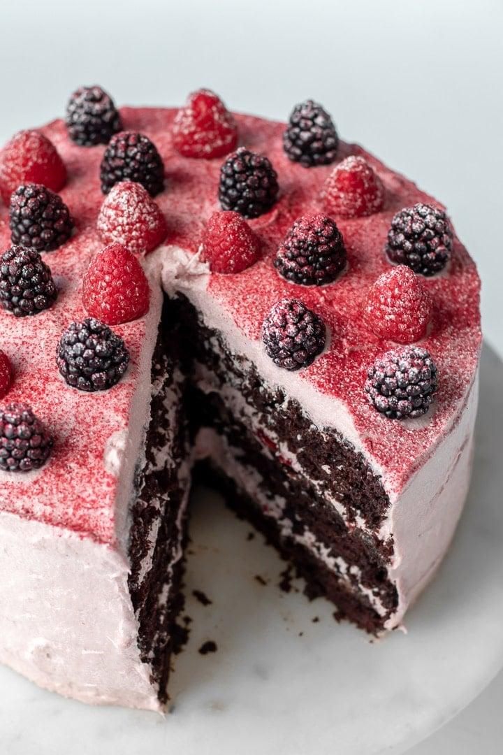 Vegan Chocolate Cake With Raspberry Cream Cheese Frosting and Raspberry Jam