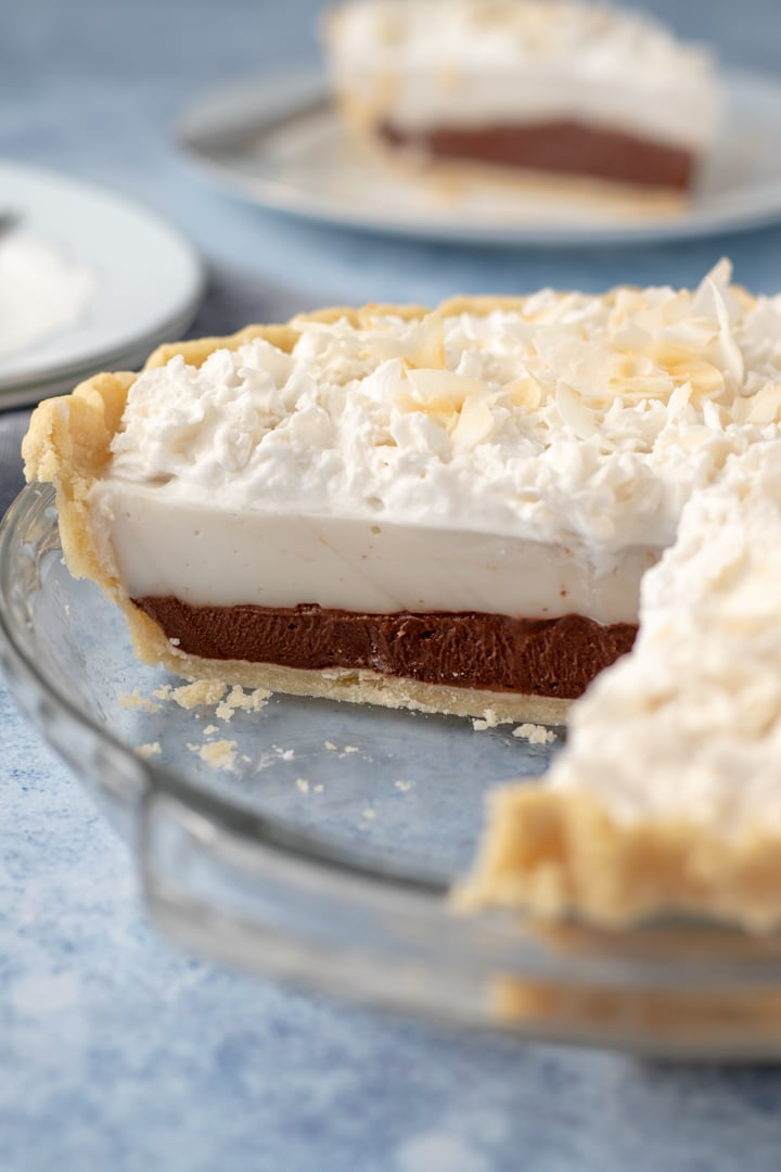 a view of the inside layers of chocolate haupia pie