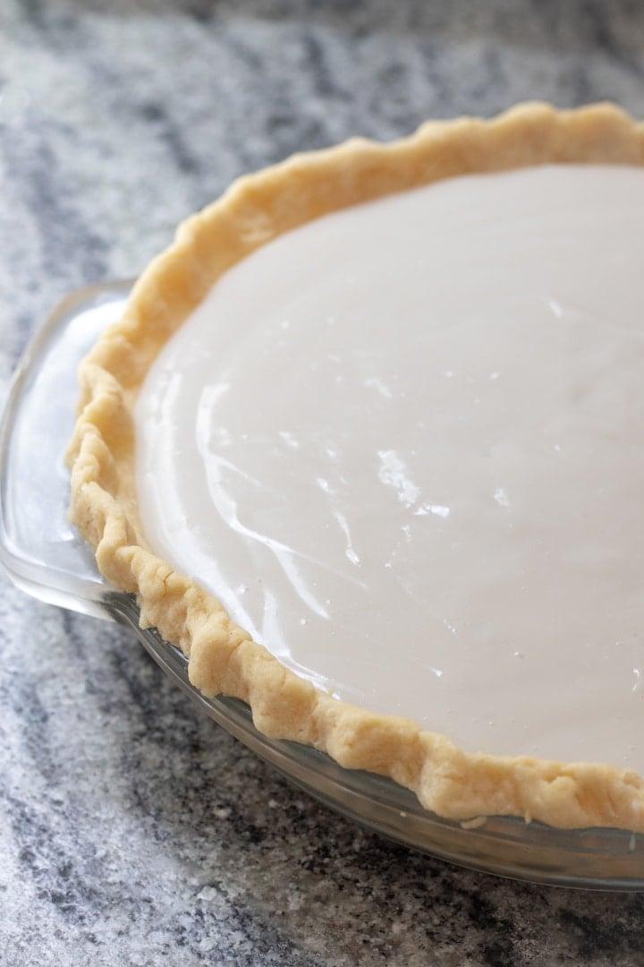 Vegan Chocolate Haupia Pie ready to chill in the fridge