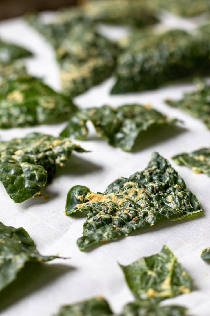 kale chips ready to be baked