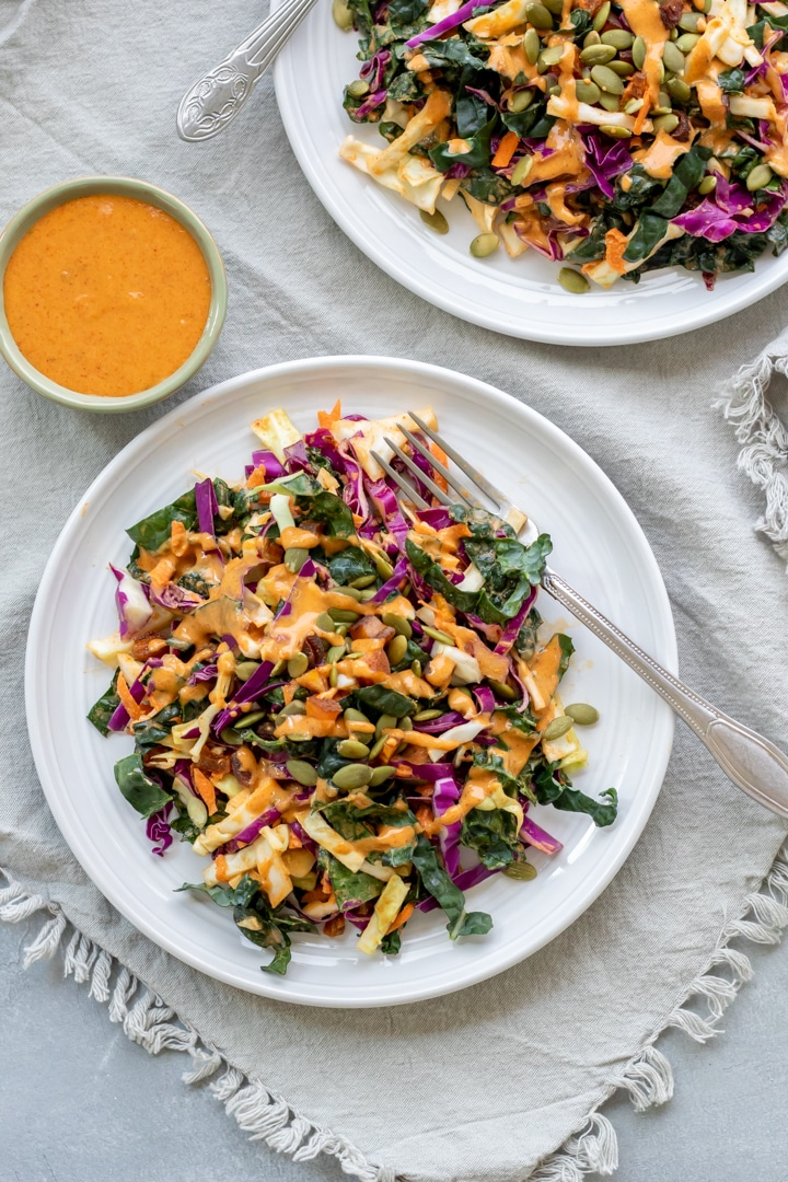 kale slaw on small plates