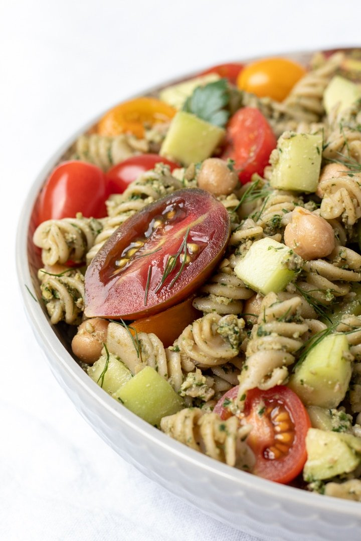 Pasta Salad With Parsley Dill Pesto in a large bowl
