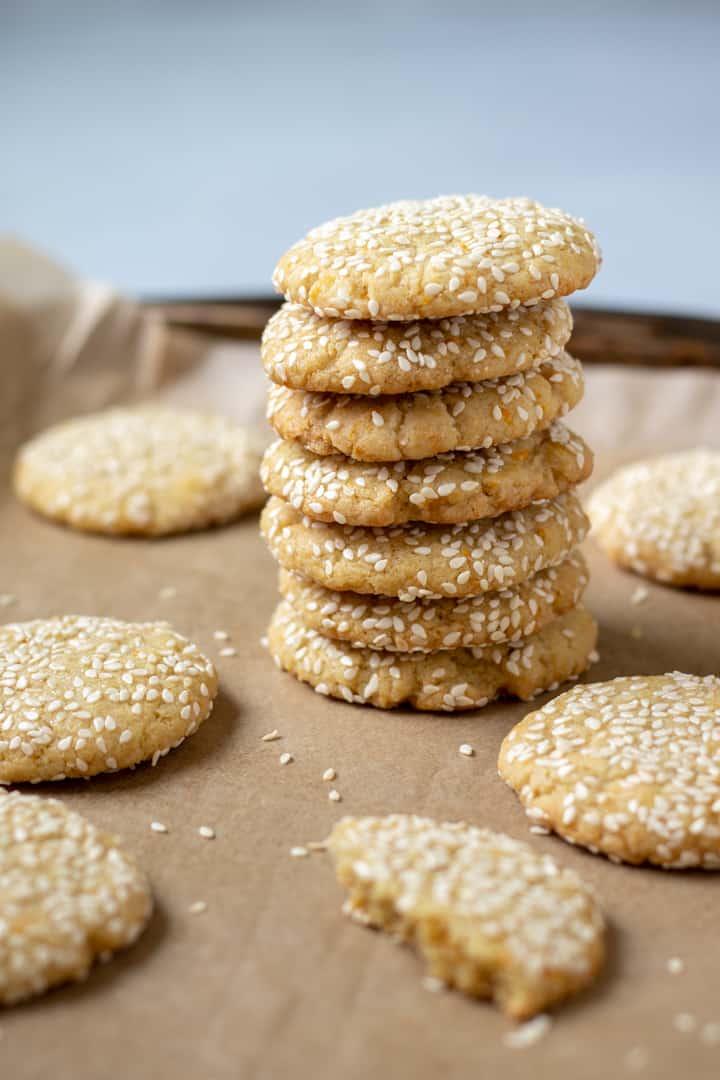vegan orange-tahini cookies stacked