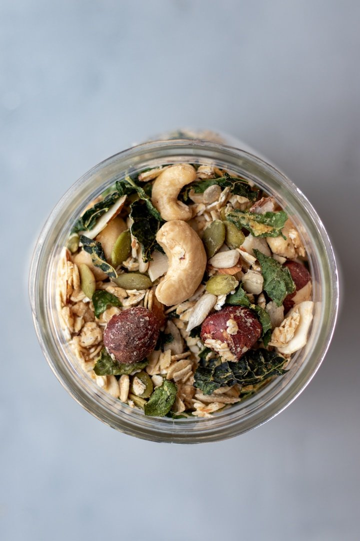 Savory Granola With Rosemary and Kale in a glass jar