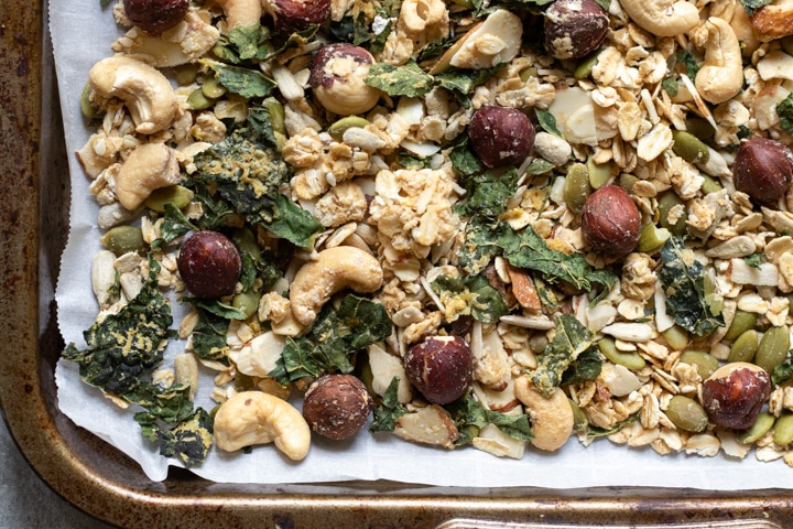 granola on a sheet pan