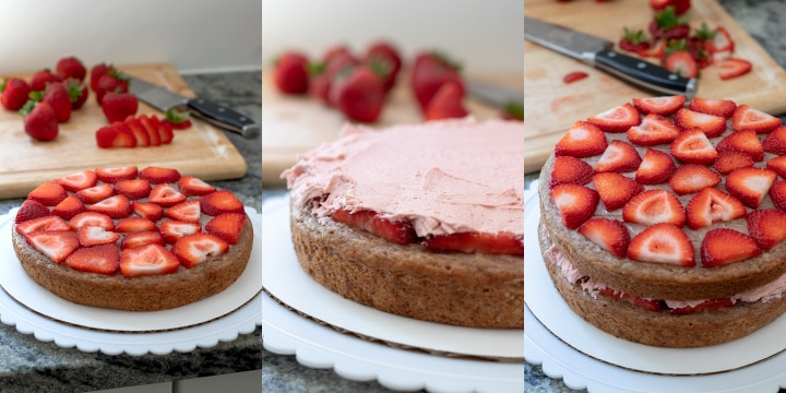 collage showing the layering of fresh strawberries on the bottom two layers