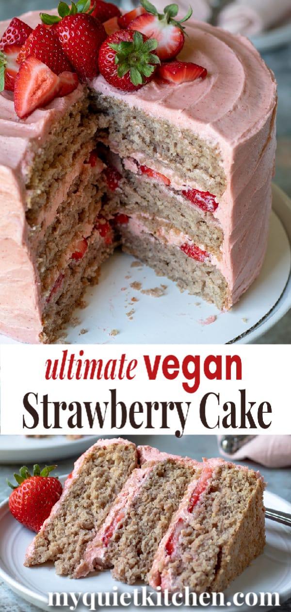 vegan strawberry cake pin for Pinterest