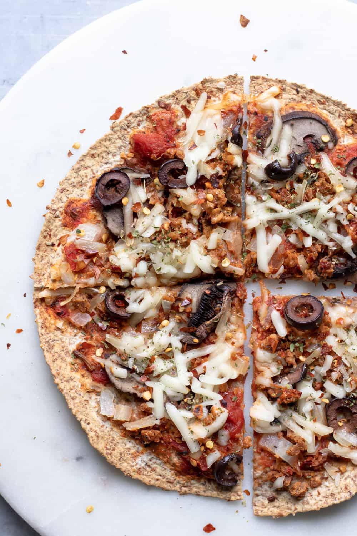 overhead shot of a baked tortilla pizza