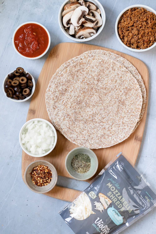 ingredients for vegan tortilla pizza