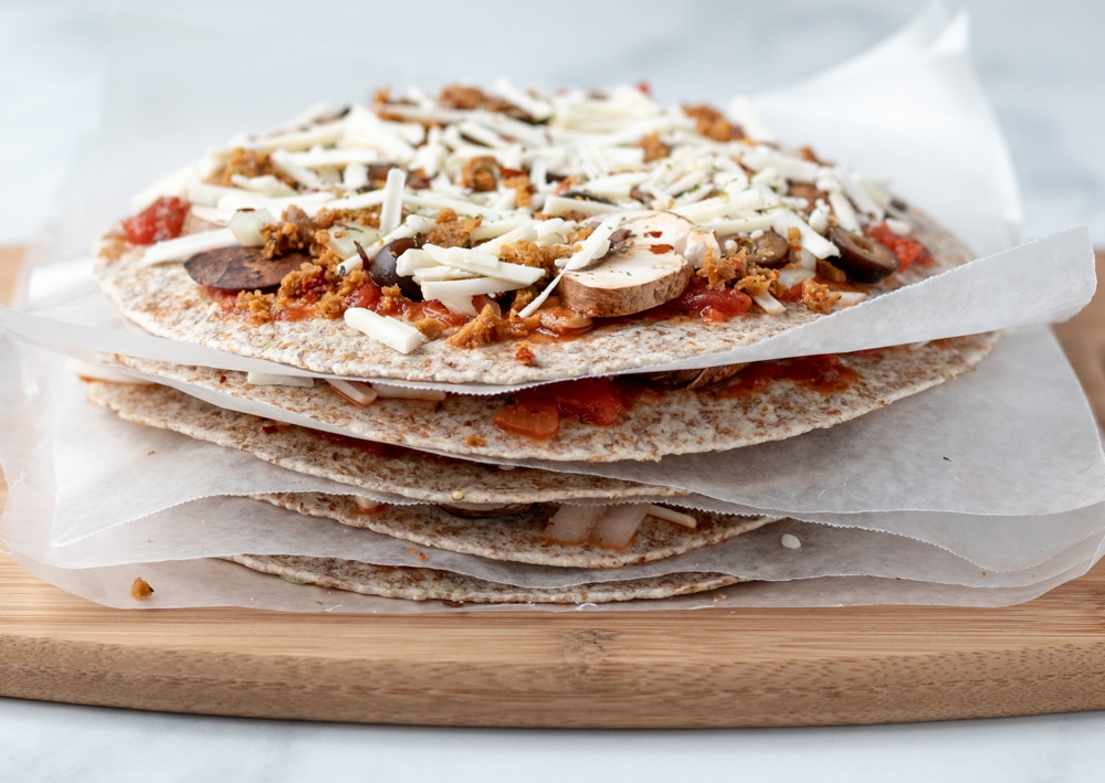 a stack of tortilla pizzas
